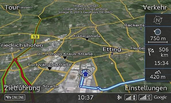 LTE im Auto: Google Earth mit Verkehrsinformation ist nur eine Anwendung (Quelle: Audi)