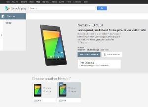 Das Google Nexus 7 (2013) gibt es ab sofort im Playstore (Quelle: Google)