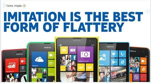 """Nokia macht sich auf seiner Facebook-Seite über das neue iPhone 5C offen lustig und """"dankt"""" Apple (Bildquelle: Facebook (Nokia)"""