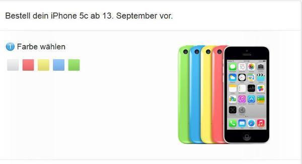 Das bunte iPhone 5C im deutschen Apple-Store (Bildquelle: Apple.com)