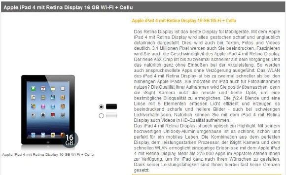 Das Apple iPad 4 gibt es bei mobook mit einem Laufzeitvertrag (Quelle: mobook)