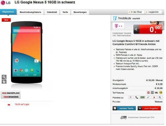 Erste Anbieter führen bereits das Nexus 5 (Quelle: 7.mobile.de)