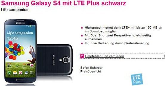 Das Samsung Galaxy S4 LTE+ ist ab sofort bei der Deutschen Telekom verfügbar (Quelle: Telekom)
