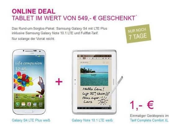 Wer sich für das Samsung Galaxy S4 LTE+ entscheidet, bekommt das Samsung Galaxy Note 10.1 kostenlos (Quelle: Telekom)