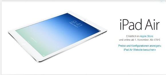 Heute startet der Verkauf des iPad Air (Quelle: Apple.com)