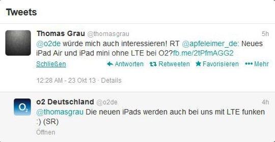 Die iPad-Modelle wird es auch bei o2 mit LTE geben (Quelle: Twitter)