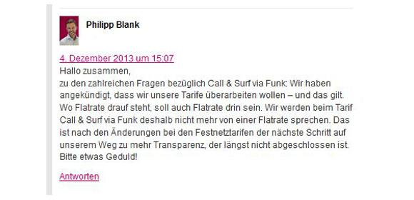 """Die Telekom möchte in Zukunft bei den LTE-Tarifen """"Call & Surf Comfort via Funk"""" nicht mehr von Flatrate sprechen"""