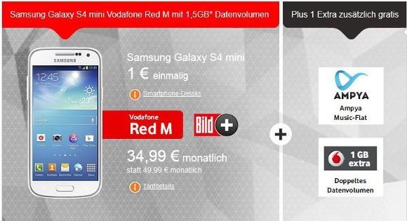 Das Samsung Galaxy S4 mini für 1 € zusammen mit dem LTE-Tarif RED M (Quelle: Vodafone)