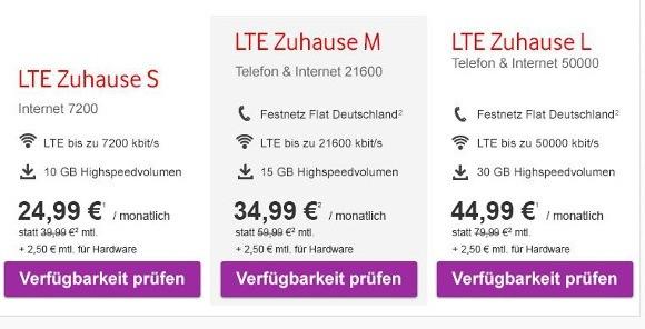 """Vodafone bewirbt seine 4G-Tarife LTE zuhause aktuell nicht mit dem Begriff """"Flatrate"""" (Quelle: Vodafone)"""