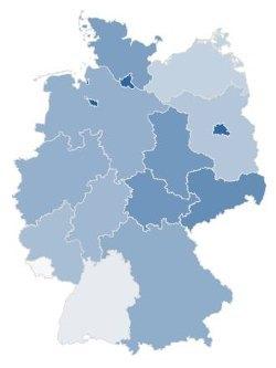 Gute LTE-Netzabdeckung (dunkelblau) in Schleswig-Holstein