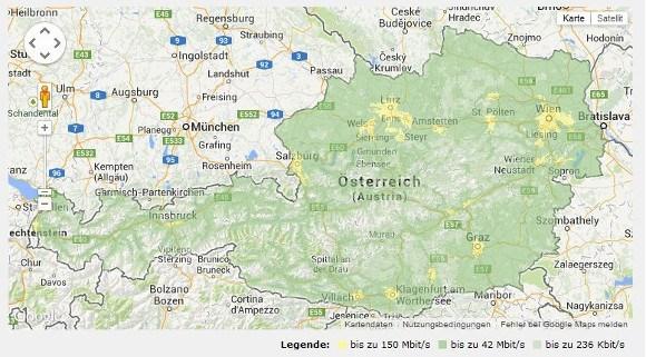 Aktuelle Netzabdeckung von A1 in Österreich (Quelle: A1)
