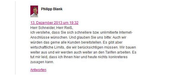 Philipp Blank diskutiert intensiv im Telekom-Blog mit den Kunden (Quelle: Deutsche Telekom)