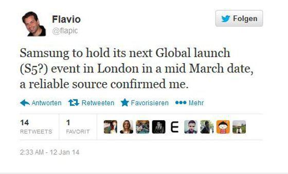Flavio Pick bringt den 15. März für die Präsentation des Samsung Galaxy S5 ins Spiel (Quelle: Twitter)