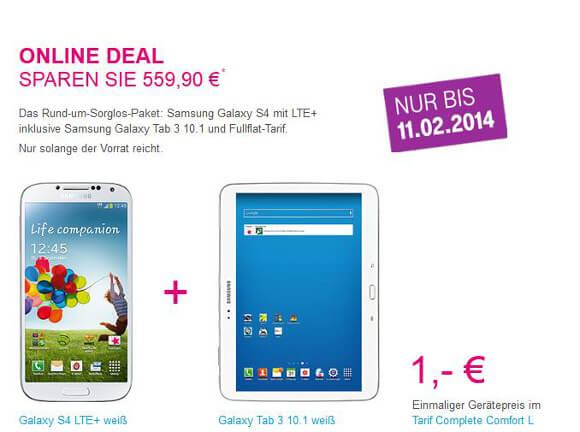 Die Telekom bietet das Samsung Galaxy S4 LTE+ und das Samsung Galaxy Tab 3 10.1 für 1 Euro an (Quelle: Telekom)