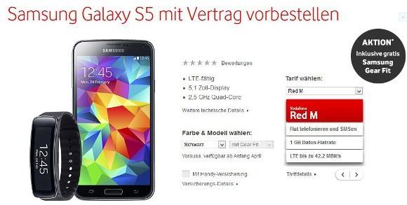 Das Samsung Galaxy S5 mit kostenloser Samsung Gear Fit bei Vodafone (Quelle: Vodafone)