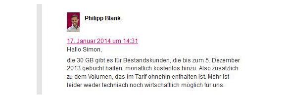 Sind mehr als 30 GB kostenloses Datenvolumen für die Telekom nicht möglich (Quelle: Telekom-Blog)