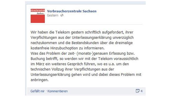 Die Telekom muss ihre Bestandskunden unverzüglich über die kostenlose Zubuchung informieren (Quelle: Facebook)