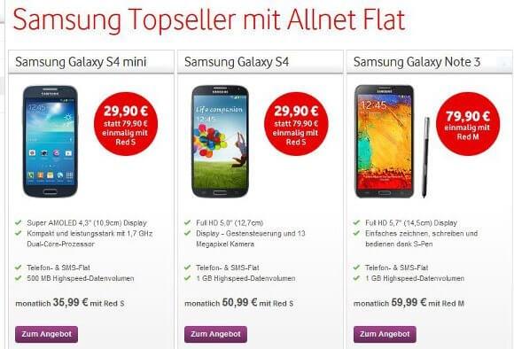 Die Vodafone Samsung Aktionswochen gehen mit neuen Preisen weiter (Quelle: Vodafone)