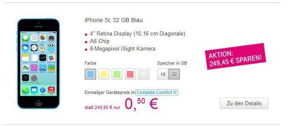 Das iPhone 5C gibt es zusammen mit Complete Comfort M für 50 Cent (Quelle: Telekom)