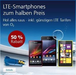o2 bietet 50 Prozent auf viele LTE-Smartphones (Quelle: o2)