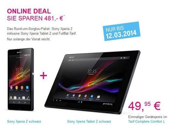 Online Deal der Telekom: Das Sony Xperia Z zusammen mit dem Sony Xperia Tablet Z (Quelle: Telekom)