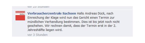 Klage gegen Vodafone - Ein Termin zur mündlichen Verhandlung steht noch nicht fest (Quelle: Facebook)