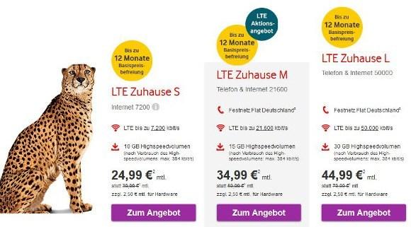 """Die Verbraucherschützer bemängeln die Bewerbung der 4G-Tarife """"LTE Zuhause"""" (Bildquelle: Vodafone.de)"""