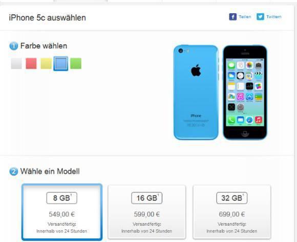Apple bietet seit heute ein iPhone 5C mit 8 GB an (Bildquelle: Apple)