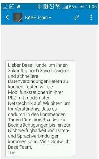 BASE informiert über den LTE-Ausbau (Quelle: Twitter)