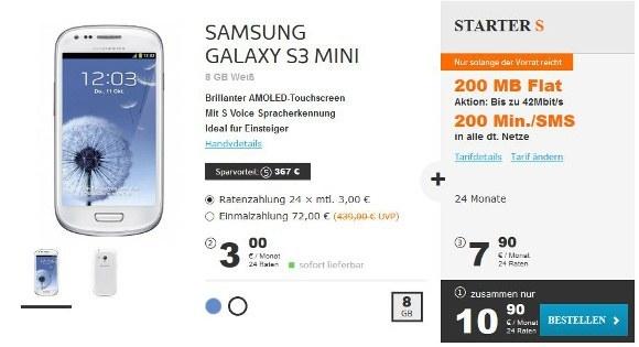 Das Samsung Galaxy S3 Mini im günstigsten simyo-Tarif STARTER S (Quelle: simyo)