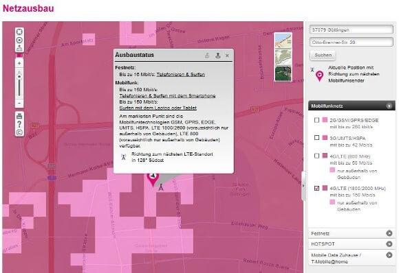 Die Netzabdeckungskarte der Telekom informiert über LTE indoor und LTE outdoor (Quelle: Deutsche Telekom)