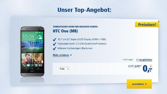 Das HTC One (M8) mit der All-Net-Flat Plus ohne Aufpreis bei 1&1 (Quelle: 1&1)
