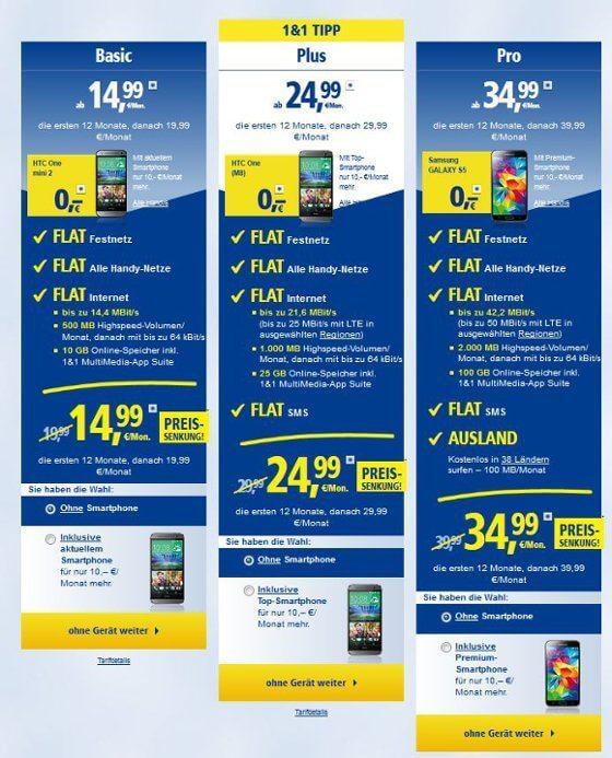 Die ALL-NET-FLATS von 1&1 mit LTE von E-Plus (Quelle: 1&1)