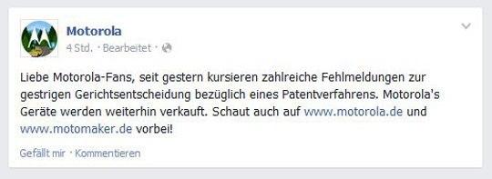 Doch kein Verkaufsverbot für das Moto G LTE (Quelle: Facebook)