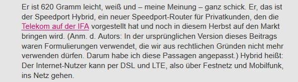 Die erneut geänderte Passage zum Hybrid-Router im Blog (Quelle: Telekom Blog)