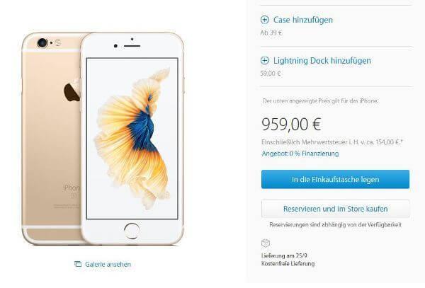 Das iPhone 6s in Gold und mit 128 GB ist aktuell noch zum 25.09 erhältlich (Bildquelle: Apple.com)