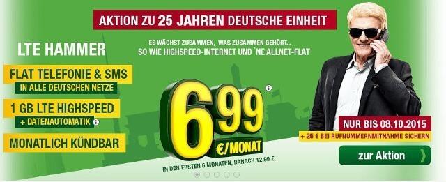 Den Tarif LTE Hammer mit Allnet-Flat gibt es noch bis zum 08.10 für 6,99 Euro (Bildquelle: Smartmobil)